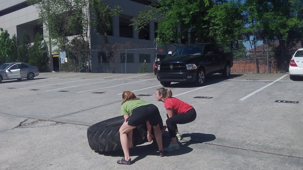 Anna and Anne-Marie on Partner tire flips
