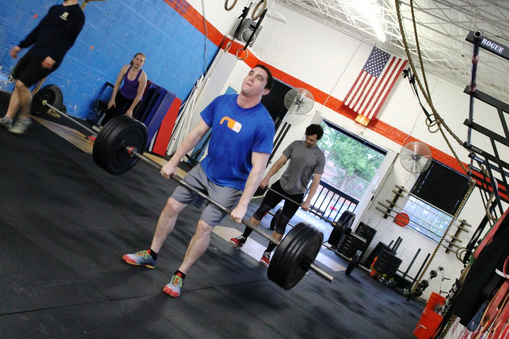 Matt G. initiating the dip and drive for the hang power clean