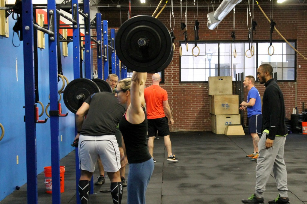 5pm class setting up for push press