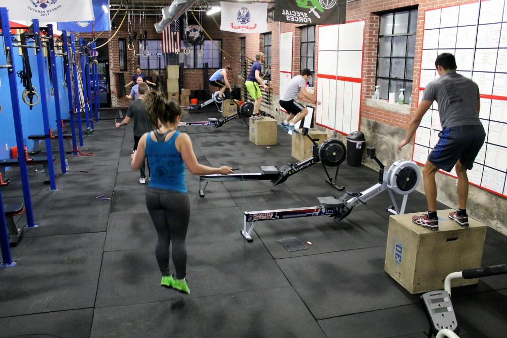 Tabata box jumps, double unders, row