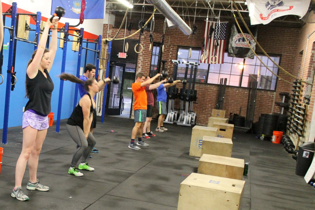 Getting the WOD started with kettlebell swings