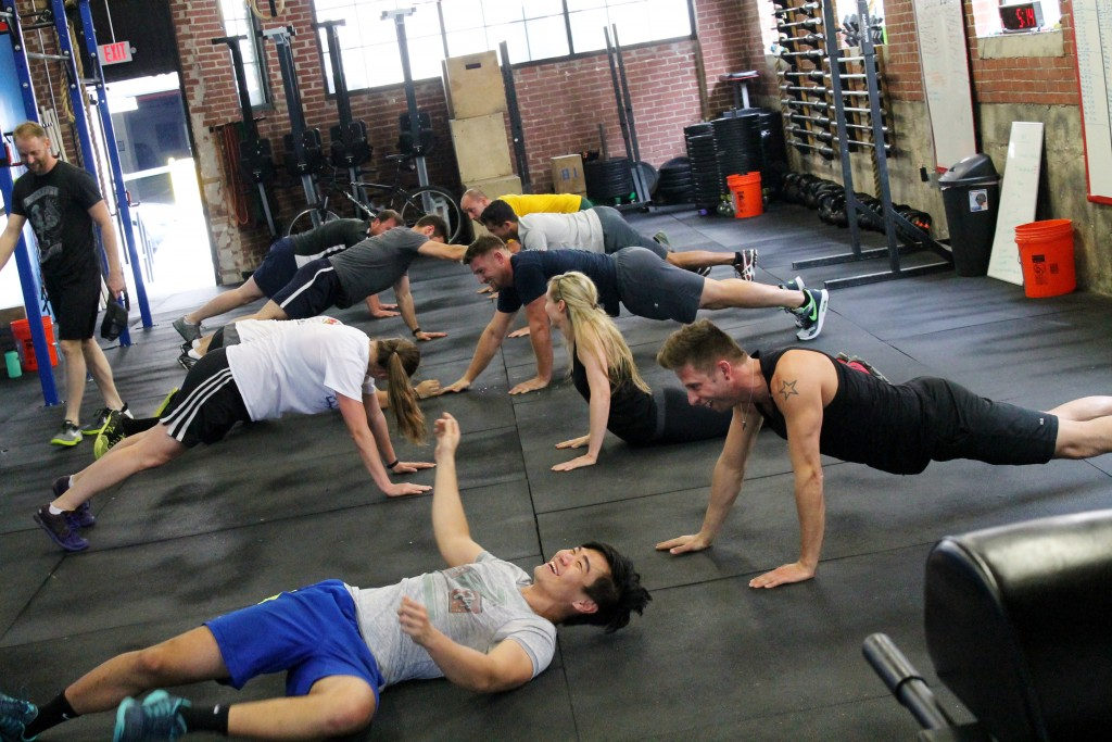 Plank arm wrestling warmup