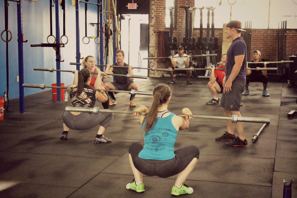 Coach Casey cueing corrections for the bottom of the front squat.