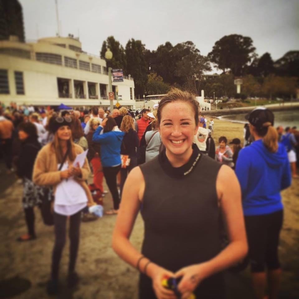 Gracie finishing her swim from Alcatraz across San Francisco Bay. width=