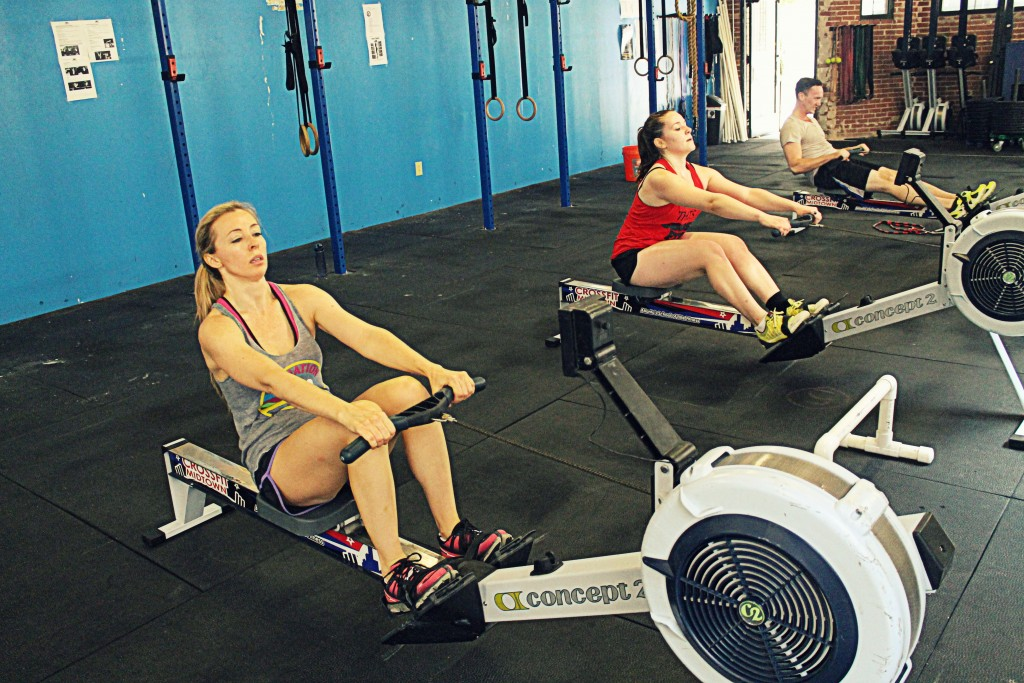 Monica, Maria, and Patrick on Tabata intervals on the rower. Feel the burn.