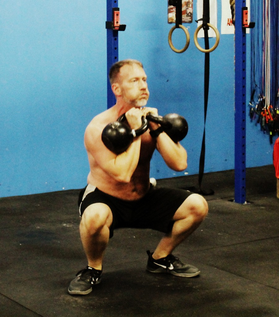Keepin' the bells in the pockets. David H kettlebell thruster.