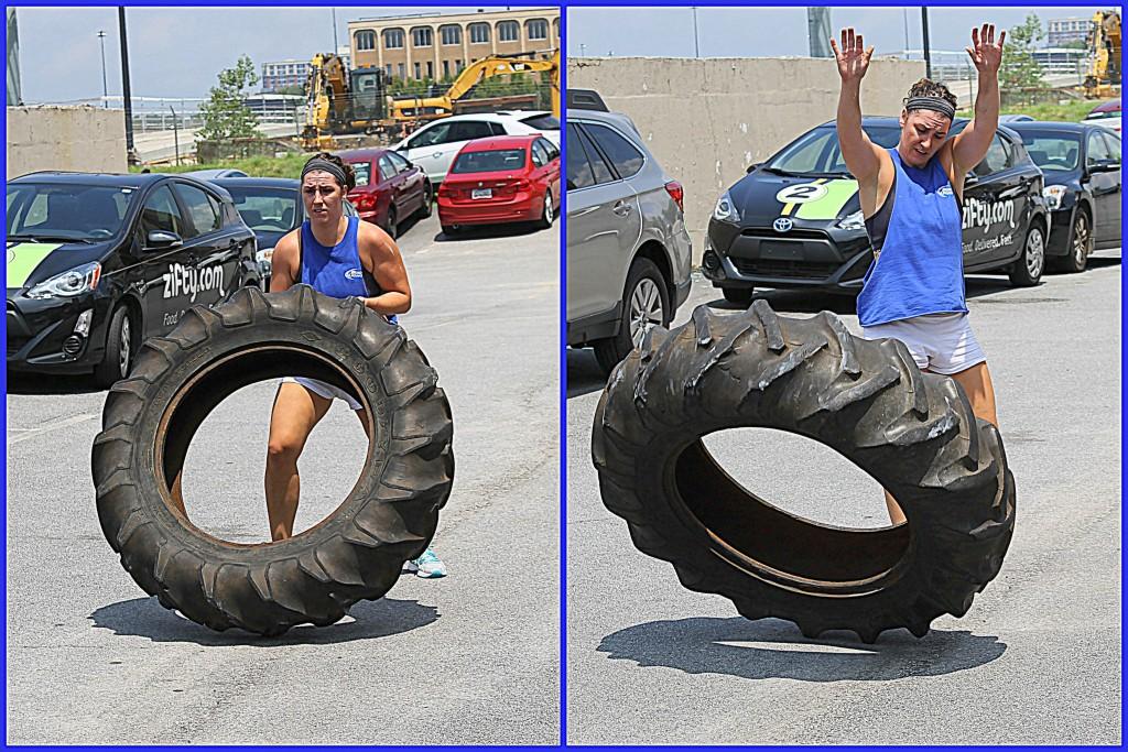 Tire flip. Yeah!