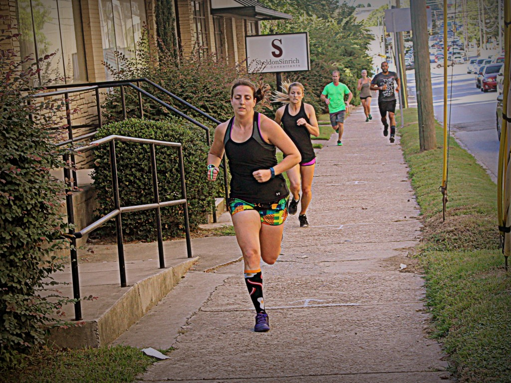 Jeannette and Ashley leading the team on the run.